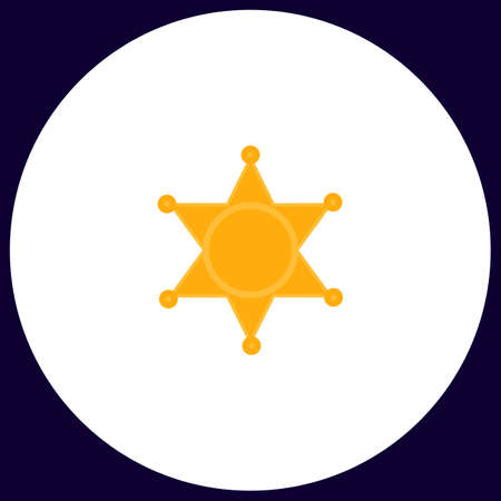 Sheriff star Simple vector button. Illustration symbol. Color flat icon