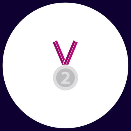 silver medal: silver medal Simple vector button. Illustration symbol. Color flat icon