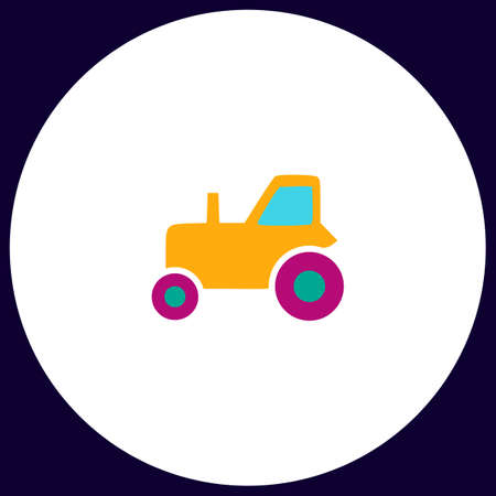 tractor Simple vector button. Illustration symbol. Color flat icon