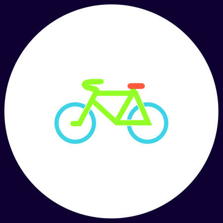 Mountain bike Simple vector button. Illustration symbol. Color flat icon