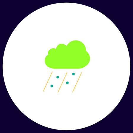 rain Simple vector button. Illustration symbol. Color flat icon