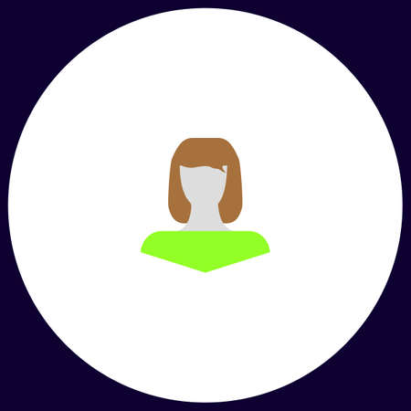 simple girl: Girl head Simple vector button. Illustration symbol. Color flat icon Illustration