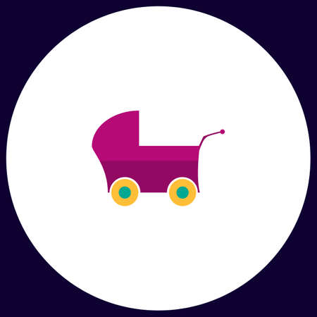 Baby Stroller Simple vector button. Illustration symbol. Color flat icon