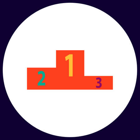 Podium Simple vector button. Illustration symbol. Color flat icon Illustration