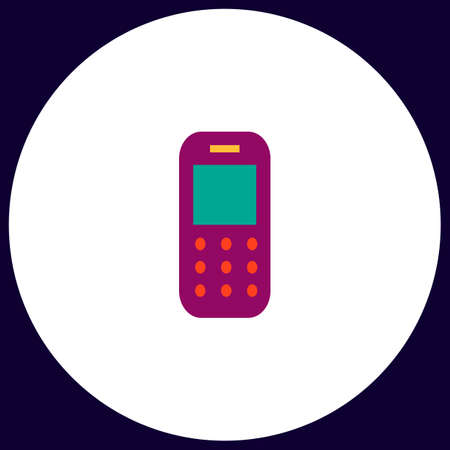 Mobile phone Simple vector button. Illustration symbol. Color flat icon