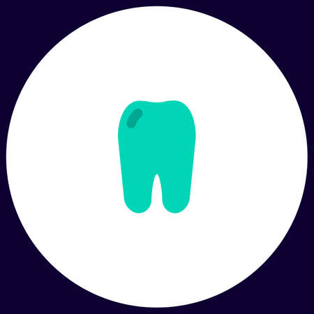 Tooth Simple vector button. Illustration symbol. Color flat icon