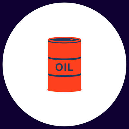 shareholding: Oil barrels Simple vector button. Illustration symbol. Color flat icon