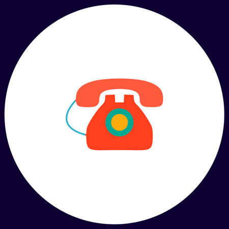 old telephone: old telephone Simple vector button. Illustration symbol. Color flat icon