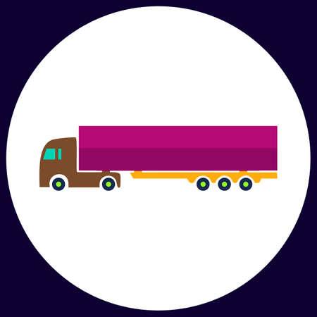 big truck: Big Truck Simple vector button. Illustration symbol. Color flat icon Illustration