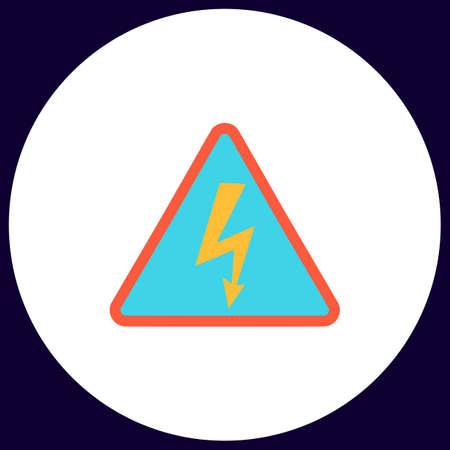 high voltage symbol: High voltage Simple vector button. Illustration symbol. Color flat icon Illustration