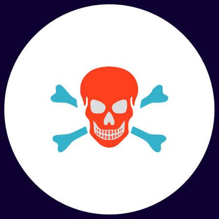 Skull Simple vector button. Illustration symbol. Color flat icon Illustration