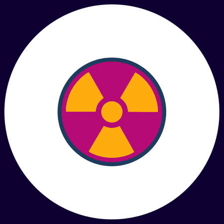 caution chemistry: Radiation Simple vector button. Illustration symbol. Color flat icon