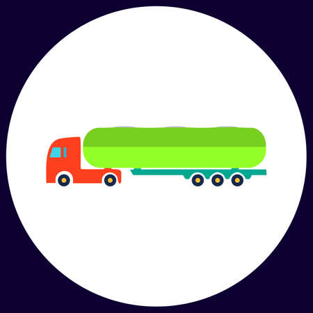 fuel truck: Fuel Truck Simple vector button. Illustration symbol. Color flat icon Illustration