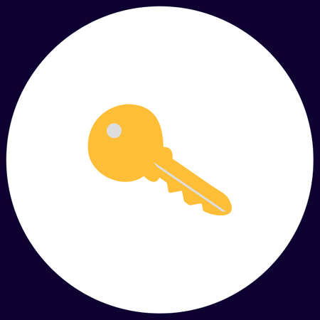 tool unlock: Key Simple vector button. Illustration symbol. Color flat icon