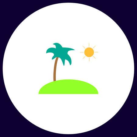 isle Simple vector button. Illustration symbol. Color flat icon