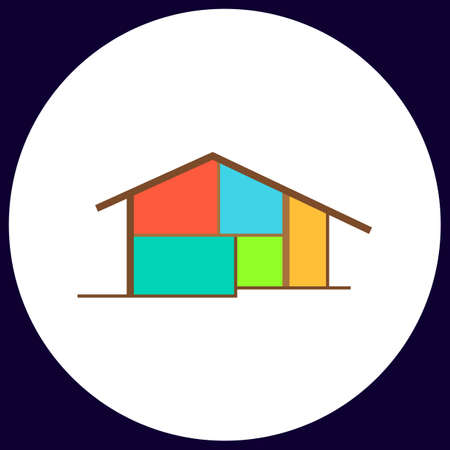 tenancy: cottage Simple vector button. Illustration symbol. Color flat icon