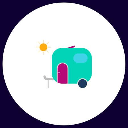trailer Simple vector button. Illustration symbol. Color flat icon