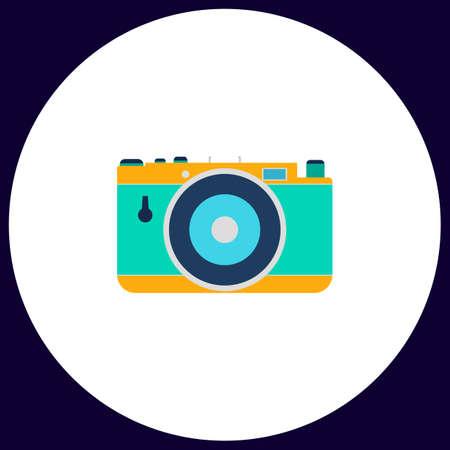 photo camera Simple vector button. Illustration symbol. Color flat icon