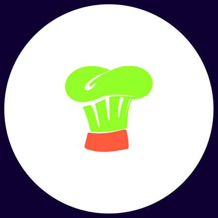 Chef cap Simple vector button. Illustration symbol. Color flat icon Illustration