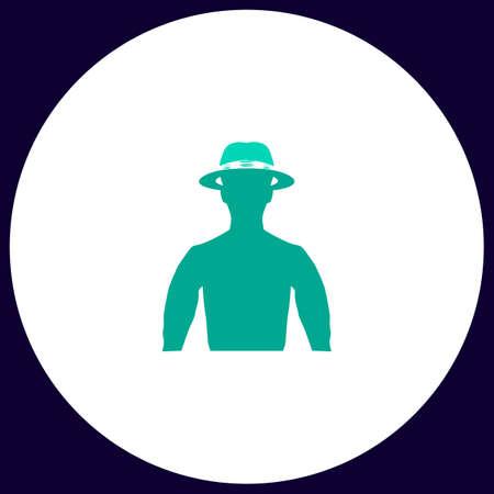 maverick: macho Simple vector button. Illustration symbol. Color flat icon