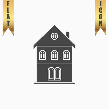 realstate: Simple old house. Flat Icon. Vector illustration grey symbol on white background with gold ribbon