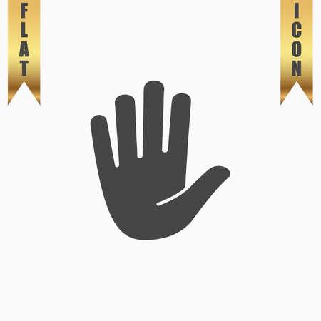 Stop - hand. Flat Icon. Vector illustration grey symbol on white background with gold ribbon Ilustração Vetorial