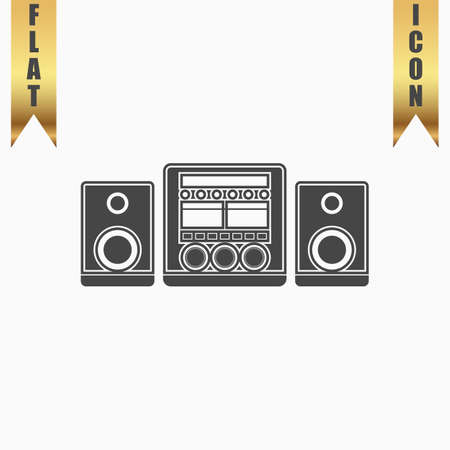 Stereo system. Flat Icon. Vector illustration grey symbol on white background with gold ribbon Illustration