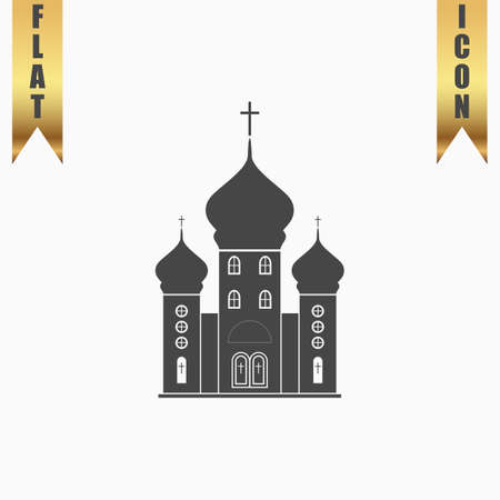 born again: Church. Flat Icon. Vector illustration grey symbol on white background with gold ribbon Illustration