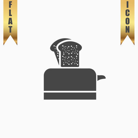 ready cooked: Toaster. Flat Icon. Vector illustration grey symbol on white background with gold ribbon