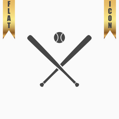outfield: Crossed baseball bats and ball. Flat Icon. Vector illustration grey symbol on white background with gold ribbon Illustration