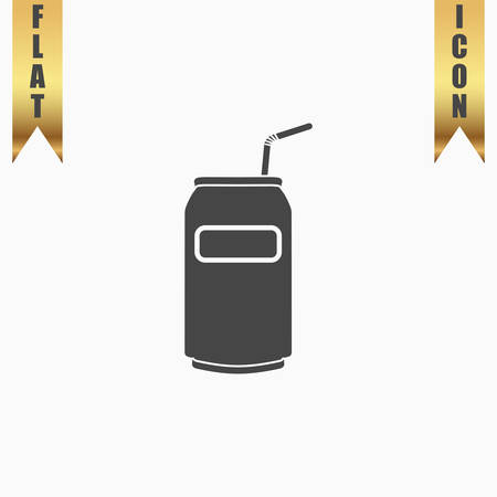 gold cans: Soda Cans with tube. Flat Icon. Vector illustration grey symbol on white background with gold ribbon Illustration