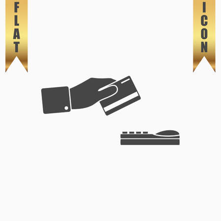 checking account: Hand swiping a credit card. Flat Icon. Vector illustration grey symbol on white background with gold ribbon