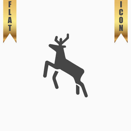 Deer. Flat Icon. Vector illustration grey symbol on white background with gold ribbon