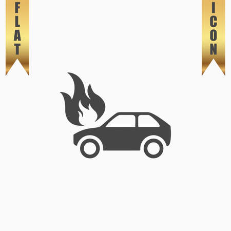 Car fire. Flat Icon. Vector illustration grey symbol on white background with gold ribbon Illustration
