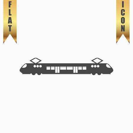 electric train: Suburban electric train. Flat Icon. Vector illustration grey symbol on white background with gold ribbon Illustration