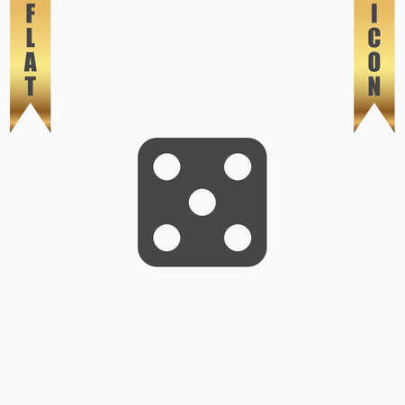 backgammon: One dices - side with 5. Flat Icon. Vector illustration grey symbol on white background with gold ribbon