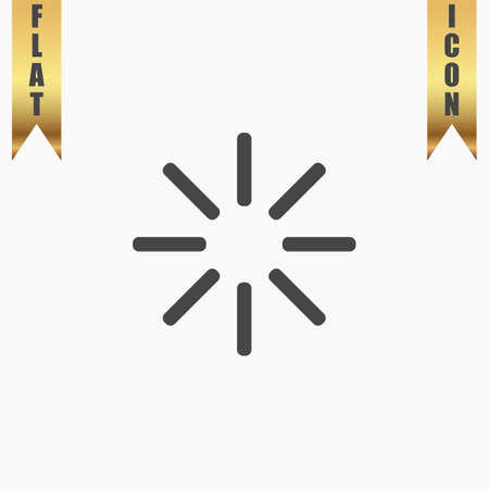 Waiting, Streaming, Buffering, Play, Go. please wait. Flat Icon. Vector illustration grey symbol on white background with gold ribbon Illustration
