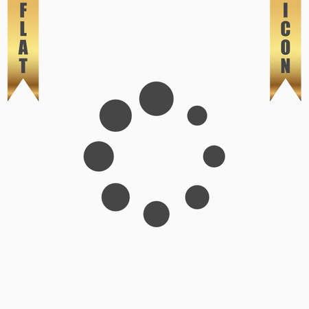 wait: Loading, Streaming, Buffering, Play, Go. please wait. Flat Icon. Vector illustration grey symbol on white background with gold ribbon Illustration