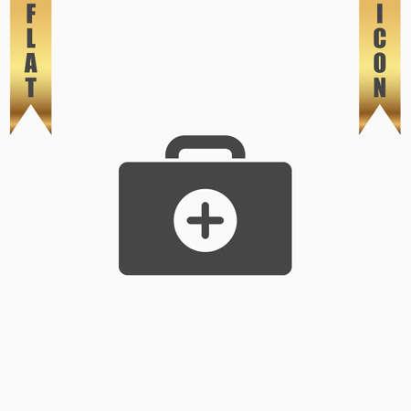 Medische doos. Platte pictogram. Vectorillustratie grijs symbool op witte achtergrond met gouden lint