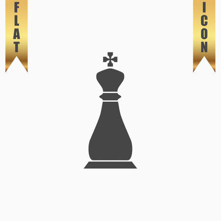 Chess king. Flat Icon. Vector illustration grey symbol on white background with gold ribbon