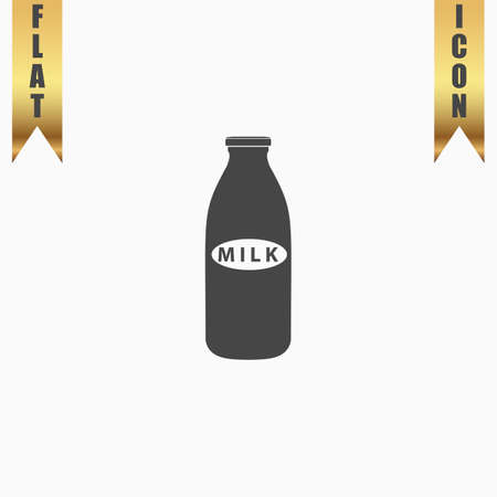 Milk bottle. Flat Icon. Vector illustration grey symbol on white background with gold ribbon