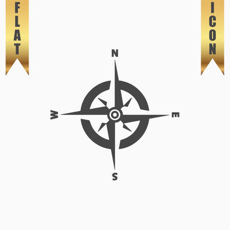 latitude: Compass. Flat Icon. Vector illustration grey symbol on white background with gold ribbon
