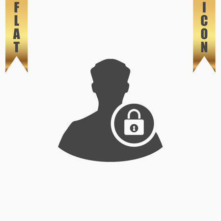authenticate: User login or authenticate. Flat Icon. Vector illustration grey symbol on white background with gold ribbon