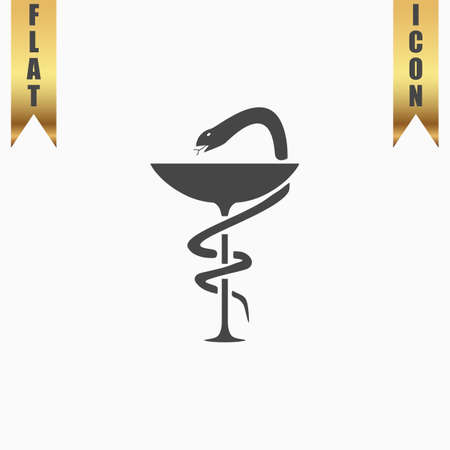 designate: Pharmacy with caduceus, bowl with a snake. Flat Icon. Vector illustration grey symbol on white background with gold ribbon