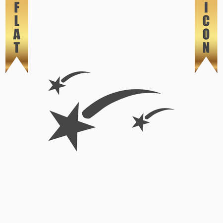 Meteor. Flat Icon. Vector illustration grey symbol on white background with gold ribbon
