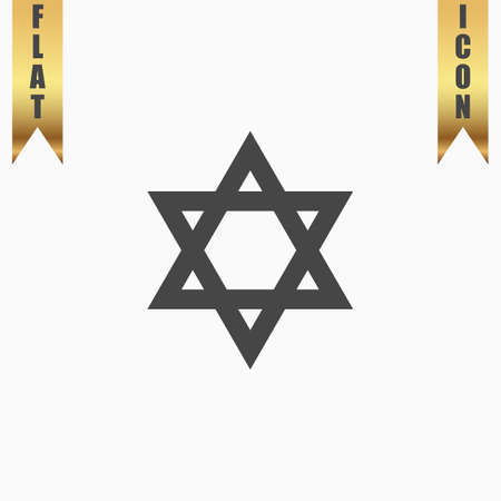 Star of David. Flat Icon. Vector illustration grey symbol on white background with gold ribbon