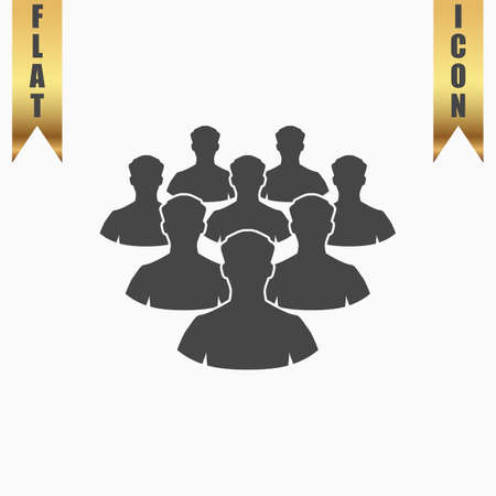 equal opportunity: Crowd of people. Flat Icon. Vector illustration grey symbol on white background with gold ribbon