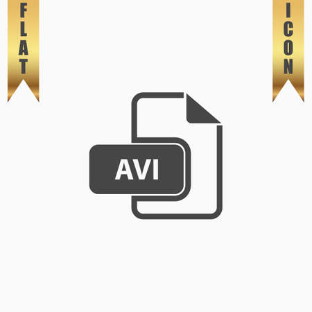 avi: AVI video file extension. Flat Icon. Vector illustration grey symbol on white background with gold ribbon