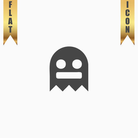 cute ghost: Kawaii cute ghost. Flat Icon. Vector illustration grey symbol on white background with gold ribbon