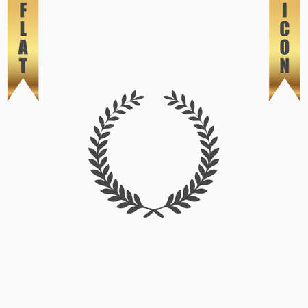 triumphant: Victory laurel wreath. Flat Icon. Vector illustration grey symbol on white background with gold ribbon